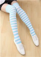 蓝白条纹长筒袜cosplay 蓝白条纹绝对领域图片