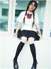 黑色长筒袜学生图片, 黑筒袜美女