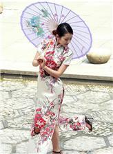 西湖杨柳旗袍女子 肥美性感旗袍美女