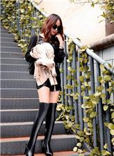 少女冬季高帮高跟鞋 高跟鞋少女搭配图片