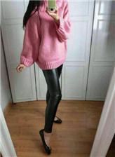 黑皮裤吧真皮亮光紧身皮裤美女