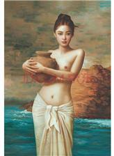 一个女人手里抱个罐子的艺术照