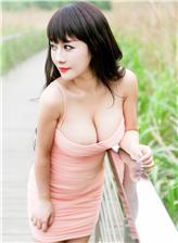陈巧蓓isabella百度云粉色吊带包臀红裙乳沟写真