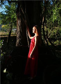 森系长裙美女写真黑森林中的美女精灵