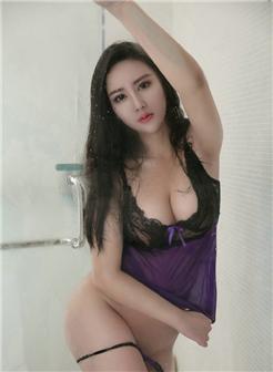 姚沐廸紫色情趣内衣浴室湿身贴紧写真