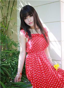 尤果网Barbie可儿(朱可儿)红色碎花裙甜美写真
