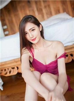 18岁勿看红涛阁长发披肩气质美女紫色蕾丝裙写真