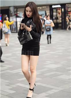 街拍美女短裙高跟 街拍紧身裤