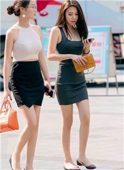 街拍:图1两位美女穿搭时尚休闲,图4时尚美女,穿破洞牛仔裤
