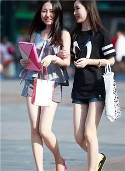重庆路人街拍,满大街美背和白花花的大腿