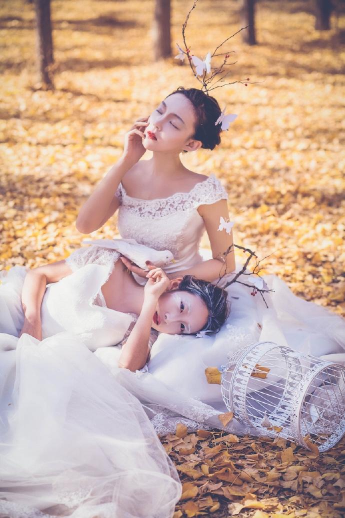 白色典雅耳环挂饰,以及白色高贵的婚纱,两个女人的婚纱照(点击浏览下一张趣图)