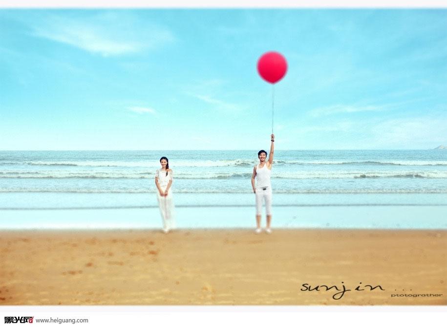 海滩朴素淡雅的白色婚纱(点击浏览下一张趣图)